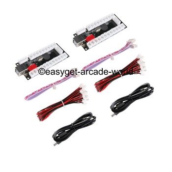 2 Players Zero Delay Arcade USB Encoder PC To Joystick MAME & 5 pin + Sanwa Type Push Buttons For Raspberry PI Retropie Project