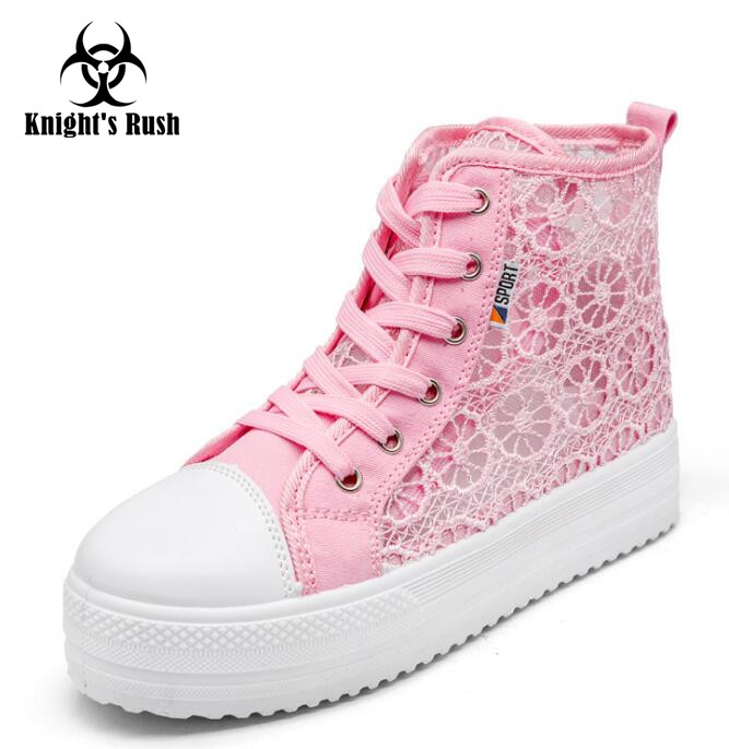 2018 Summer New Lace Canvas Shoes Woman Casual Shoes Hollow Floral Print Breathable Platform Women Shoes han wild brand 2017 new summer women shoes casual lace canvas shoes hollow floral breathable platform flat shoe sapato feminino