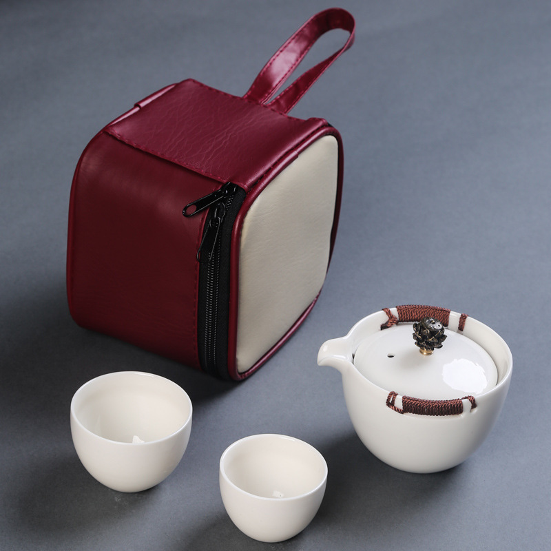 Gift Box Portable Travel Tea Set 1 Teapot 2 Teacups Beautiful And Easy Kung Fu Gaiwan Kettle Ceramic Portable Teaset Coffee Cup
