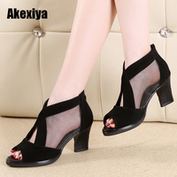 2019 Spring summer Fashion Large Size 35 41 Mesh T Strap Pumps Woman Peep Toe Cool High Square Heel Women Shoes M654