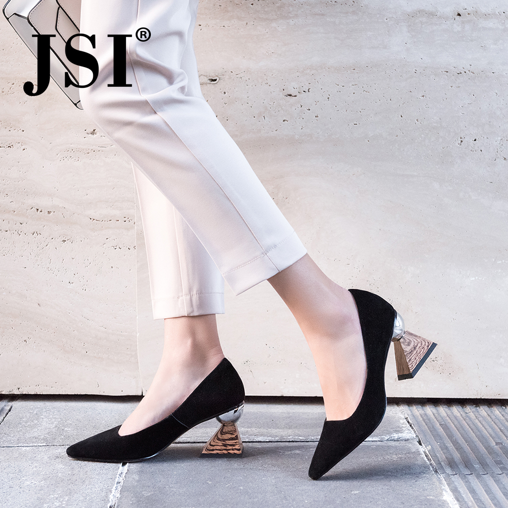 JSI Spring Casual Women Pumps Strange Style Slip on Sexy Pointed Toe High Heel Ladies Shoes