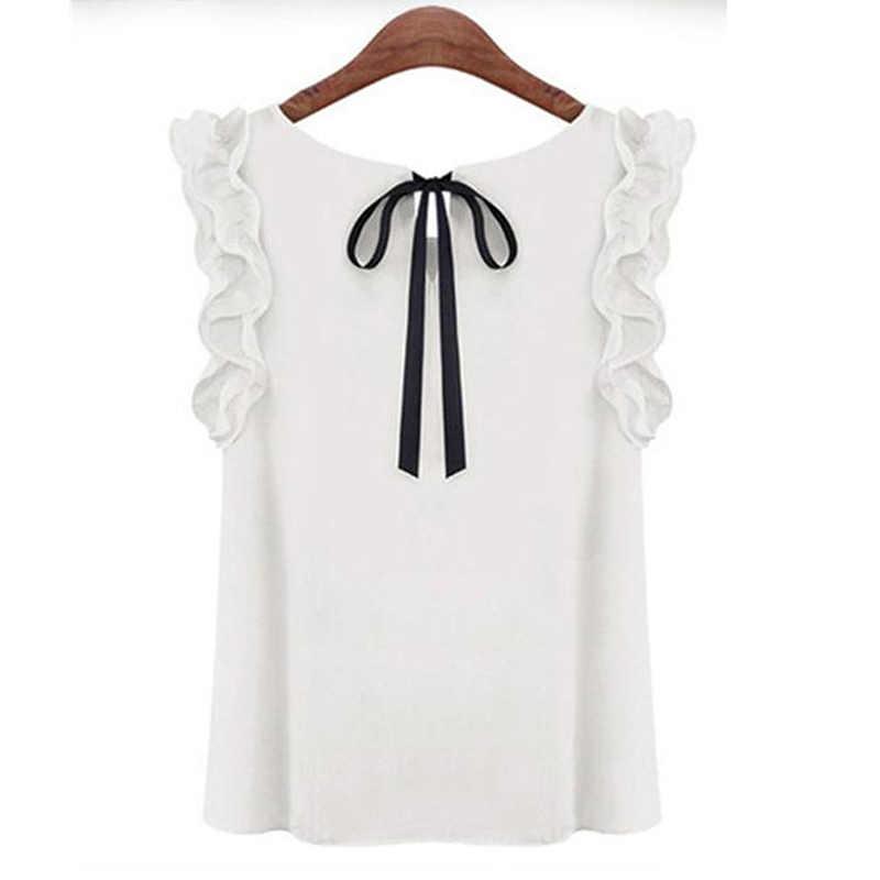 Túnica de verão Blusas Mulheres Babados Sólidos Tops Feminino Short Slim Camisas Das Senhoras Do Escritório Blusas Nova Camisa Sem Mangas
