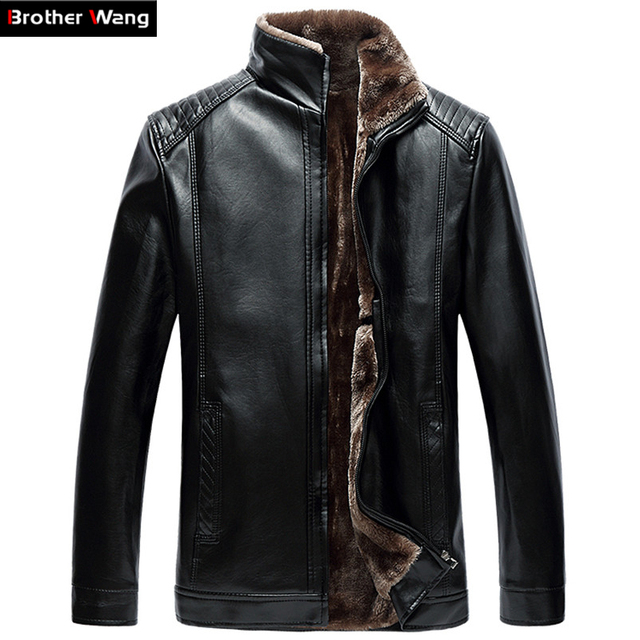 Winter men thick leather Fashion collar collar plus cashmere warmer wagon jacket High-quality men's leisure large size men 5 6XL