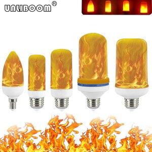 Image 1 - B22 E27 E26 E14 E12 żarówka LED z efektem płomienia 85 265V efekt płomienia LED lampka imitująca ogień migotanie emulacji Decor lampy LED 3W 5W 7W 9W