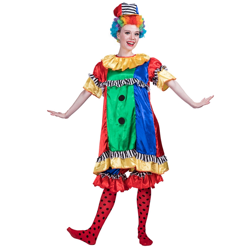 Adult Pretty Clown Cutie Women Party Outfit Cosplay Halloween Costume Girls Stage Performance Clothes Set