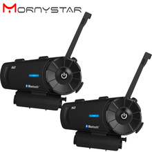 Mornystar R2 オートバイのヘルメットの bluetooth インターホン IPX6 防水 1200 メートルバイク BT インターホンワイヤレス fm ラジオ