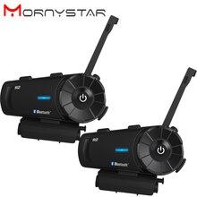 Mornystar r2 intercomunicador de motocicleta, para capacete de moto, bluetooth, à prova d água ipx6, 1200m, bt, interfone, sem fio, com rádio fm