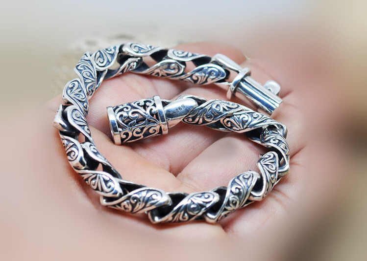 925 thai silver bracelet tang dynasty flower male fashion sterling silver vintage jewelry brand new original