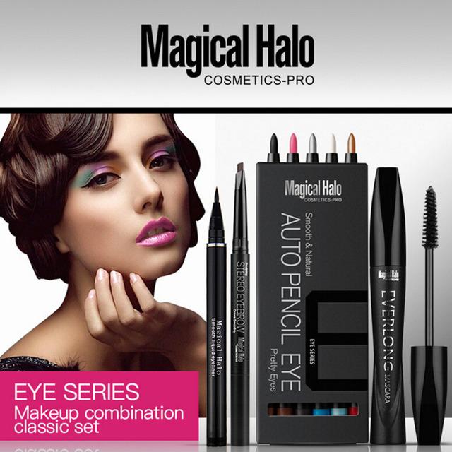 Mágico de Halo Eye Makeup Set 12 cores de Sombra + Delineador Líquido Lápis de Sobrancelha + + Cura Grosso Mascara Cosméticos Beleza Hot Tools!