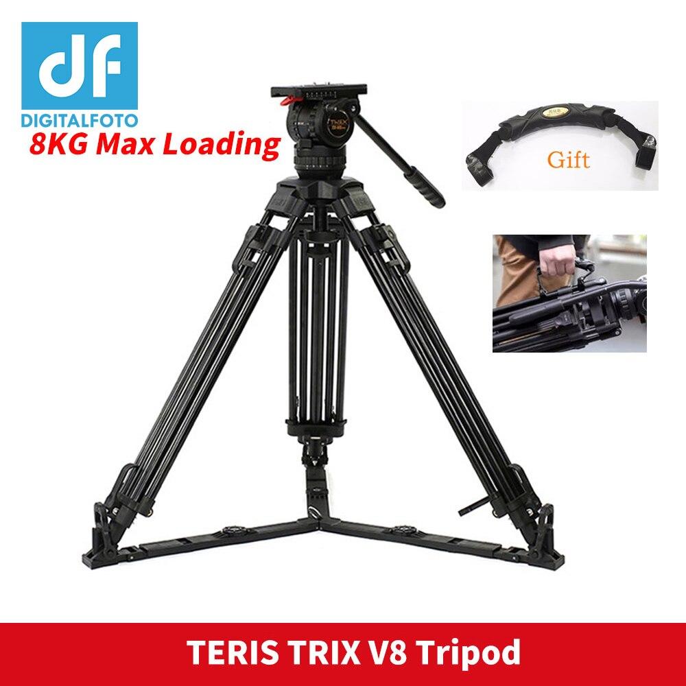 65 TERIS TRIX V8 PLUS Vidéo Caméra Trépied avec Tête Fluide Charge 8 kg Aluminium Camcoder Trépied pour HDV c300 CCMB Caméra Tilta Rig
