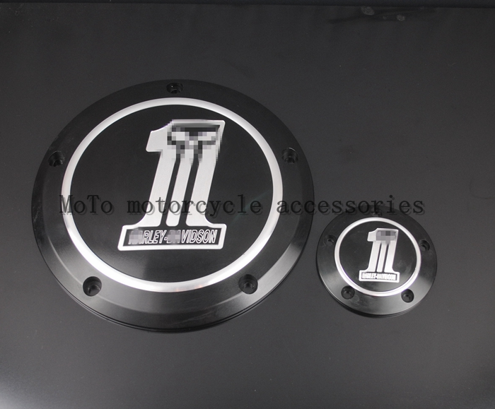 ФОТО Freeshipping Hot sale Black Derby & Timing Timer Cover For Harley Road King Softail Dyna FLHRS FLTFB