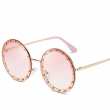MYT_0133 Fashion Sunglasses Women Round Diamond-encrusted Lady Sunglasses Personalized Decorative Street Snap Sunglasses Oculos chic round lens street snap fashion golden butterfly mirrored sunglasses for women