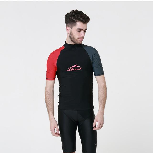 SBART 1PC Rash Guards Men Short Sleeve Sailing Surfing T Shirts Male Swimwear Swimming Tops Wetsuits 2018 DBO