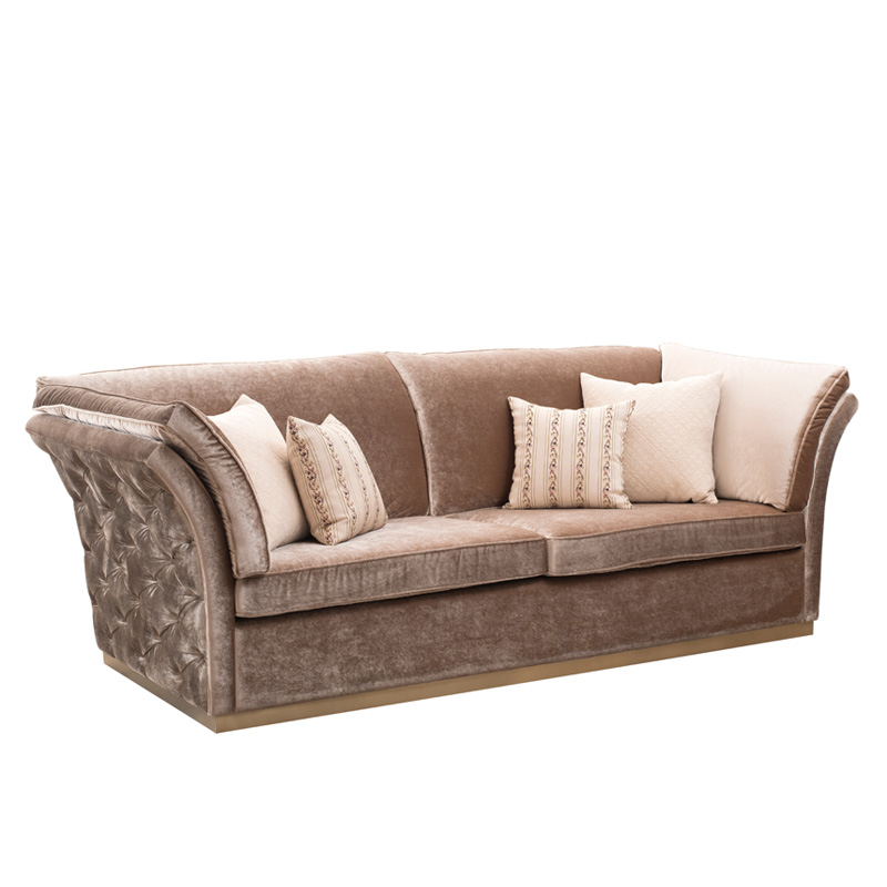 Retro Button Tufted Upholstered Chesterfield Fabric Sofa , Classic ...