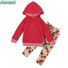 Ropa de los niños de color rojo niño niños niña traje floral completa  arropan La camiseta encapuchada Tops + floral largo Pantal. 6597ba17f8d