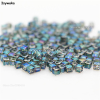 Isywaka 1980pcs Cube 2mm Hot Green Color Square Austria Crystal Bead Glass Beads Loose Spacer Bead