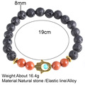 Hot Fama's Hand Black Nature Stone 19cm Elastic Line Gold Silver Alloy Bracelet New Brand Strand Bracelets Bangle