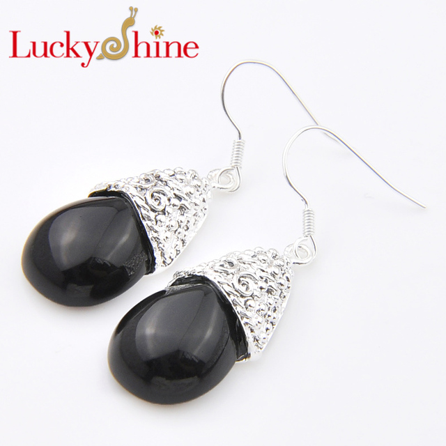Promotion Luckyshine Antqiue Fire Black Created Onyx Silver Pated Holiday Wedding Drop Earrings Russia Usa Australia