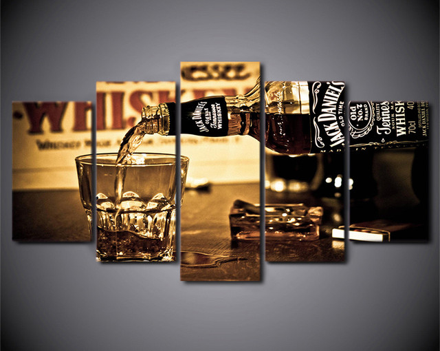 HD Printed 5 Pieces Wall Art Canvas Painting Jack Daniels Drink Wall ...