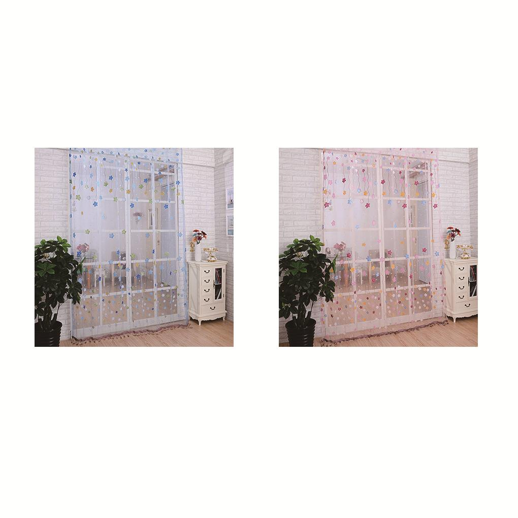 Door Room Divider Sheer Star Voile Window Curtain Panel Drapes Scarf Low Price Wholesale China
