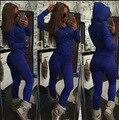 2016 Осень Зима Женщины костюмы Twisted Блузка Повседневная женщины Спортивная Одежда С Капюшоном Set Толстовка Черный Серый Синий Femme