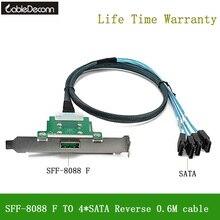 CableDeconn MINI SAS26 Pin SFF 8088 żeński na 4 * SATA odwrotny kabel do serwera synchronizuj dane przewód transmisyjny 80cm