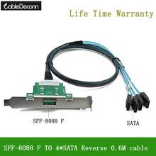 CableDeconn MINI SAS26 Spille SFF 8088 Femmina a 4 * SATA Reverse Cavo per Server di Trasmissione Dei Dati di Sincronizzazione Cavo 80 centimetri