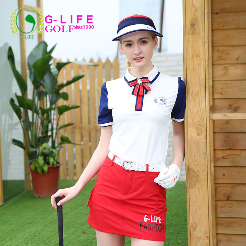 G-life2017 spring and summer golf sports shirts lady training skirt  short-sleeve T-shirt women's apparel quick dry цена 2016