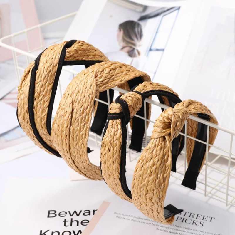 Cinta de pelo bohemia de paja de verano tejedora cinta de cabello con nudo para mujeres cruzadas y hechas a mano Aro para el cabello accesorios para el cabello