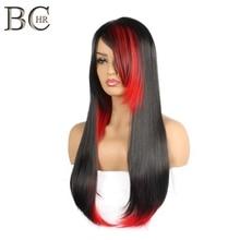 BCHR ผมยาวสังเคราะห์ตรงยาวด้านข้าง Fringe ทนความร้อนฮาโลวีนคอสเพลย์สีดำและสีแดง Wigs สำหรับผู้หญิง