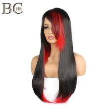 BCHR Long Straight Synthetic Hair With Side Fringe Heat Resistant Halloween Cosplay Black and Red Wigs For Women