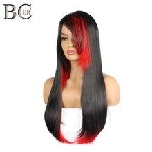 BCHR długie proste włosy syntetyczne z bocznym frędzlami żaroodporne Halloween Cosplay czarne i czerwone peruki dla kobiet