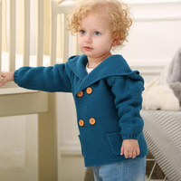 Pasgeboren Baby Breien Vest Winter Warm Baby Truien Jongens Meisjes Lange Mouw Kapmantel Jas Kids Uitloper Kleding Outfit 2