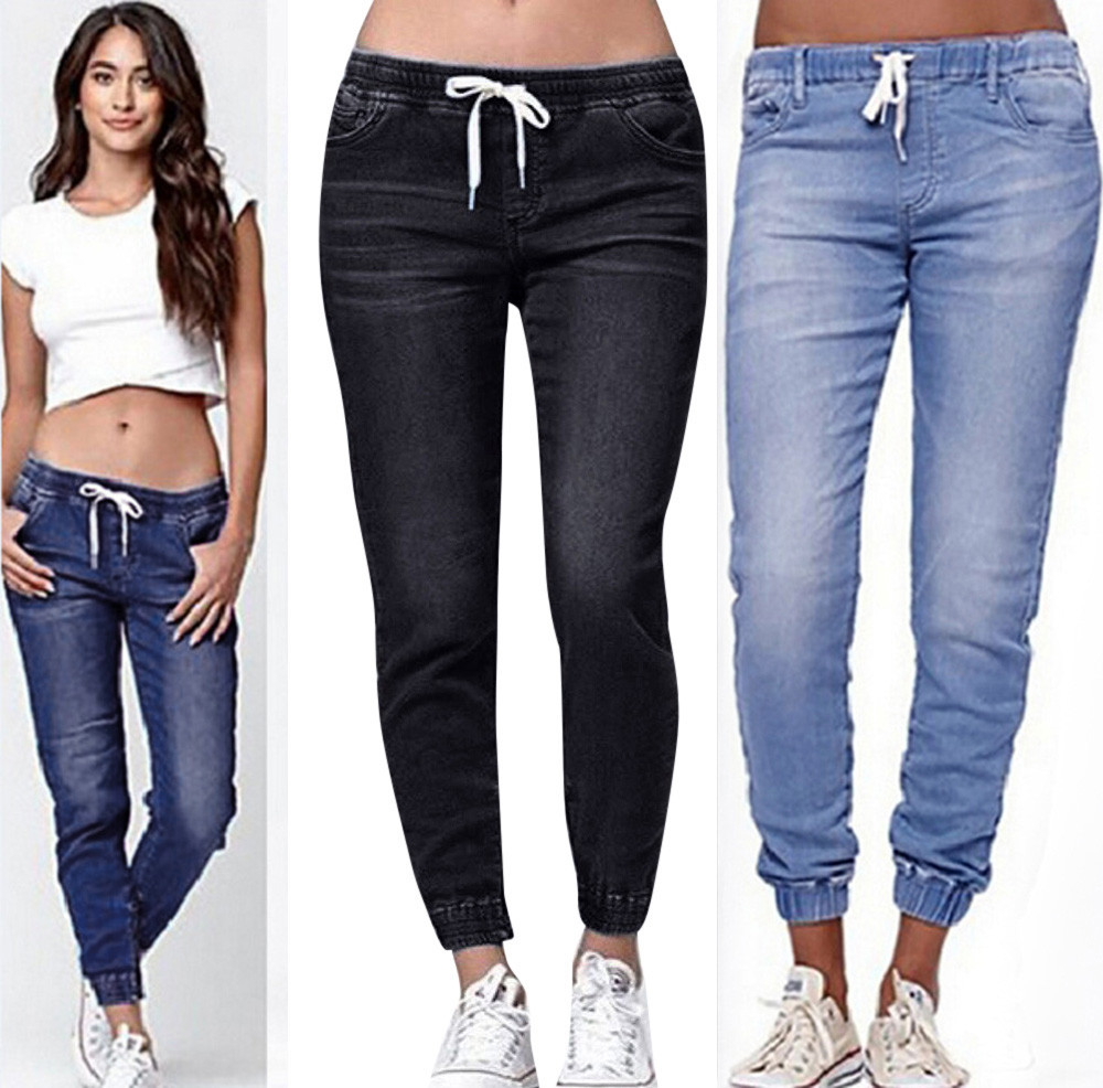 Jeans Woman High Waist Jeans Autumn Elastic Plus Loose Soft Comfortable Denim Casual Drawstring Plus Cropped Jeans Mujer 2019