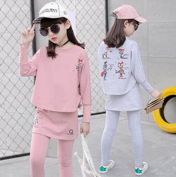 2017 Baby Clothing Set Autumn Baby Girls Clothes Long Sleeve T-Shirt+Pants 2Pcs Suits Cartoon Children Spring Solid 6-15T O-Neck 2