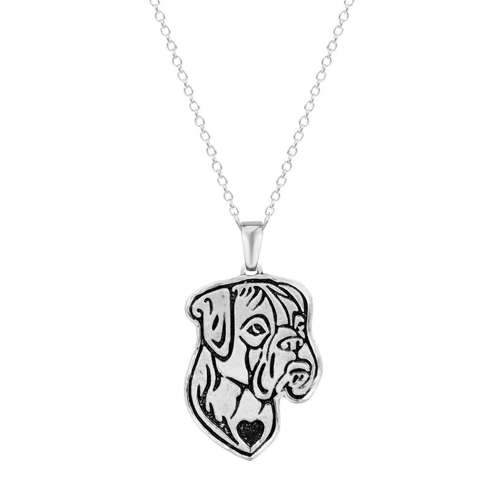 QIAMNI Neueste Handgemachte Boxer (natürliche ohren) hund Gesicht Welpen Haustier Liebhaber Tier Einzigartige Halsketten & Anhänger Geschenk für Frauen Männer Mädchen