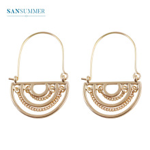 Sansummer New Hot Fashion Golden semi-circular Chain Retro Style Pendant Personality Charm Statement Earrings For Women Jewelry