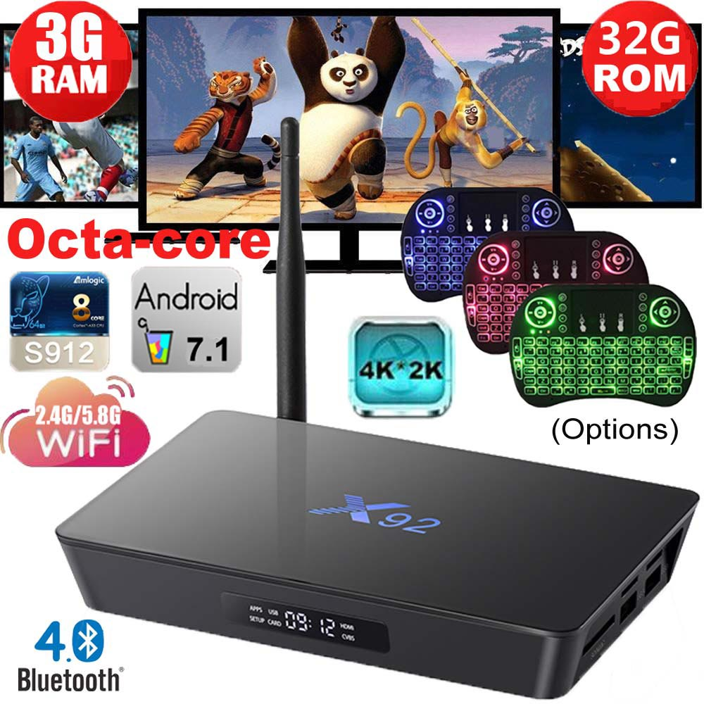 Boîtier TV d'origine X92 Amlogic S912 Android 7.1 noyau Octa entièrement chargé Wifi 3D 4 K X92 boîtier TV intelligent Ip tv lecteur décodeur