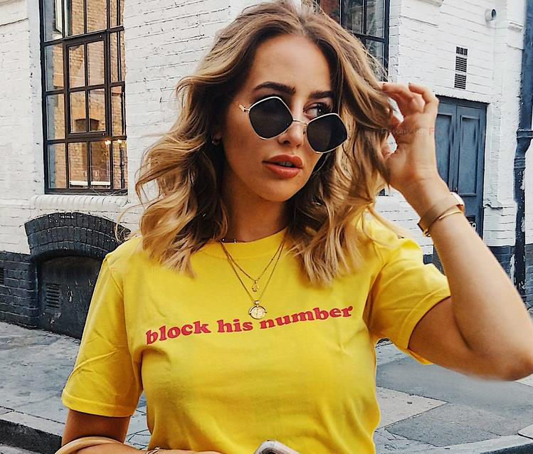 Block His Number Red Letters Women Tshirt Cotton Casual Funny T Shirt For Lady Girl Top Tee Hipster Tumblr Ins Drop Ship NA-15