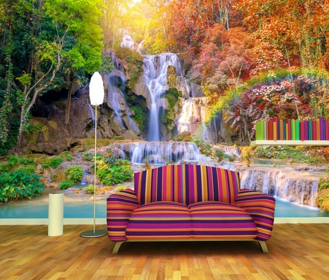 Tropics Autumn Waterfalls Trees Rainbow Nature Photo Wallpaper,living Room  Tv Sofa Wall Bedroom Restaurant