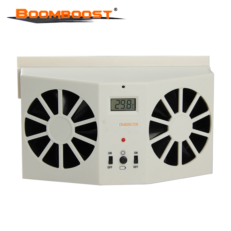 Portable Solar Sun Power 2W Car Auto Air Vent Cool Fan Cooler Ventilation System Radiato with Display Without battery