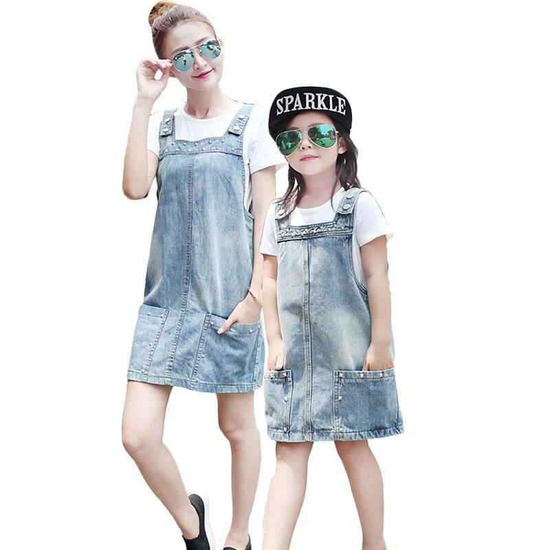 Mother and daughter dress denim dress sleeveless summer for Matching denim shirt and jeans