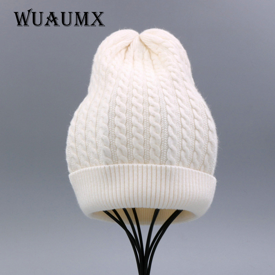 Wuaumx NEW Winter Women's Hat Beanies Hat Female Skullies Thick Warm Wool Knitted Ladies Touca Bonnet Chapeau Casual Wholesale new winter male and female cartoon glasses color embroidery knitting wool hat warm hat hedging hat skullies m144