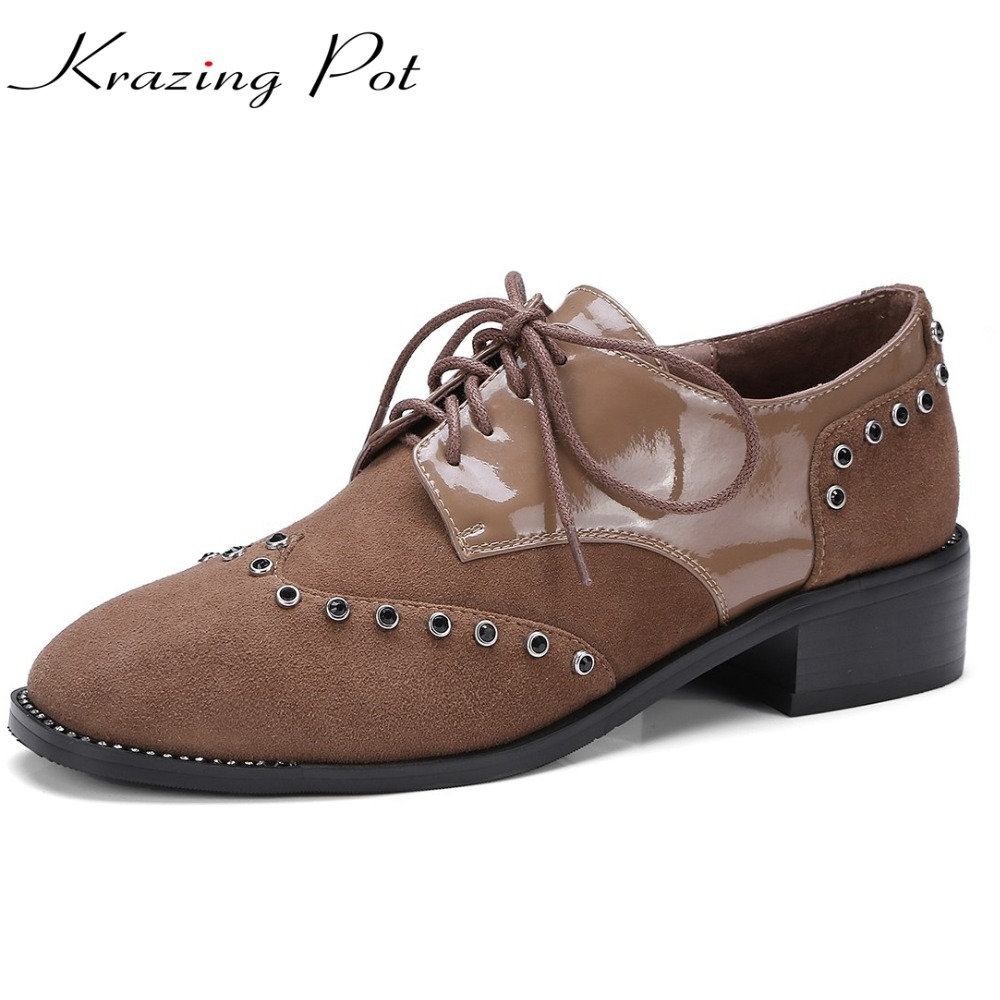 KRAZING POT sheep suede crystal rivets metal decoration closed closed toe lace up pumps women med square heels brand shoes L12 krazing pot empty after shallow shoes woman lace work flats pointed toe slip on sheep suede causal summer outside slippers l16