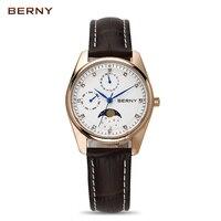 Берни Moon Phase кварцевые часы Для женщин Мода Повседневное часы роскоши розового золота кожаный Водонепроницаемый дамы Кварцевые наручные ча