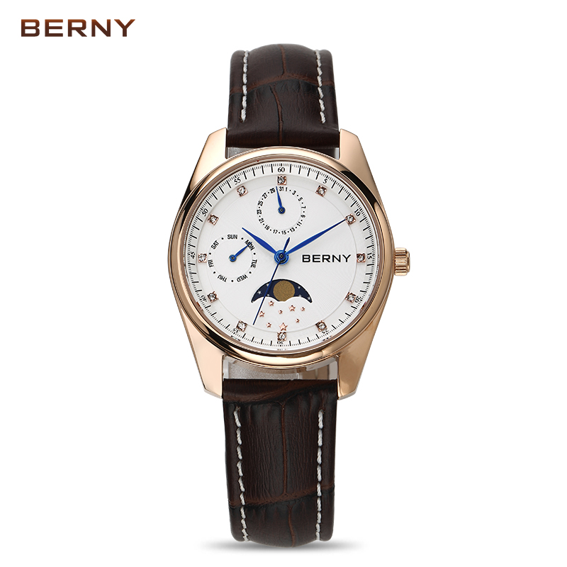 BERNY Moon Phase Quartz Watches Women Fashion Casual Watch Luxury Rose Gold Leather Waterproof Ladies Quartz Wristwatches 2160L contena new fashion women quartz watches casual dress girls wristwatches rhinestones waterproof rose gold silver ladies watch