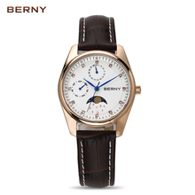 BERNY Moon Phase Quartz Watches Women Fashion Casual Watch Luxury Rose Gold Leather Waterproof Ladies Quartz Wristwatches 2160L