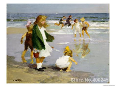 oil Painting impressionism Play in the Surf Edward Henry Potthast Hand painted High quality