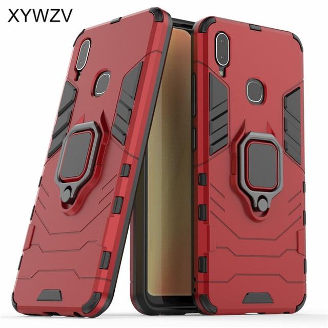 Vivo Y91 funda a prueba de golpes cubierta dura PC armadura Metal dedo anillo soporte teléfono funda para Vivo Y91 protección contraportada para Vivo Y91