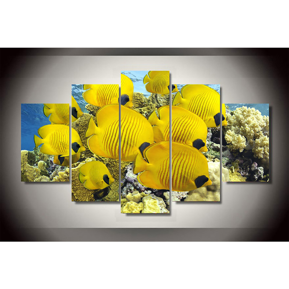 For Living Room Modern HD Printed Pictures 5 Piece/Pcs Coral Marine ...